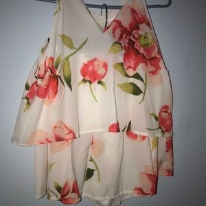 Two Piece Flowery Blouse & Shorts